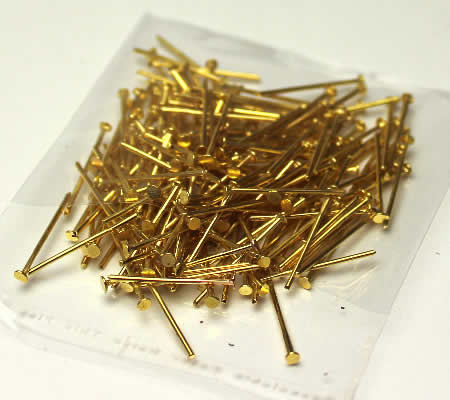 200x nietstiften goudkleurig 18 mm